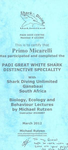 Attestato Shark Diving Unlimited